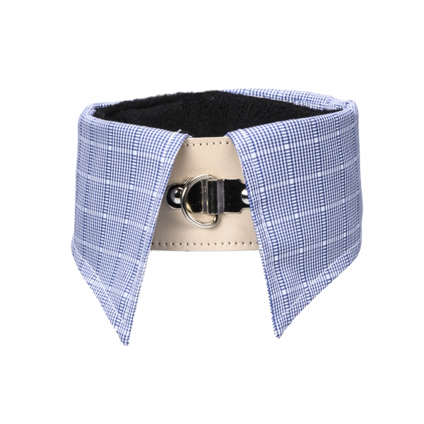 Collar Inlay - blue/small checkered